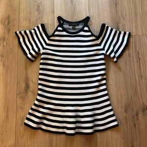 [Ann Taylor] Striped Cold Shoulder Peplum Sweater